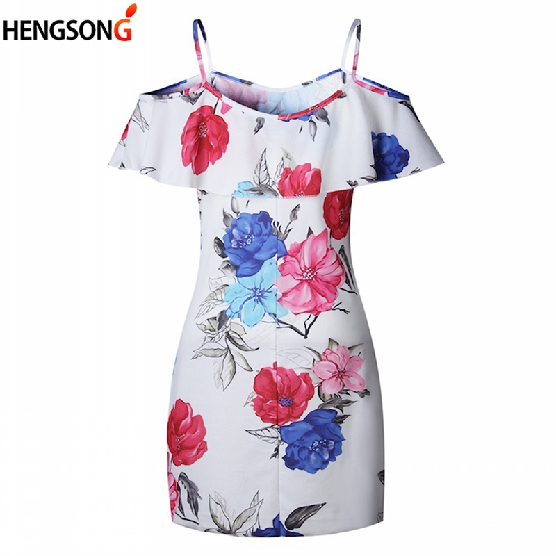 Women Ruffles Dress Floral Print Spaghetti Straps Dress 2018 New Sexy Off Shoulder Backless Short Sleeve Summer Dresses Vestiods