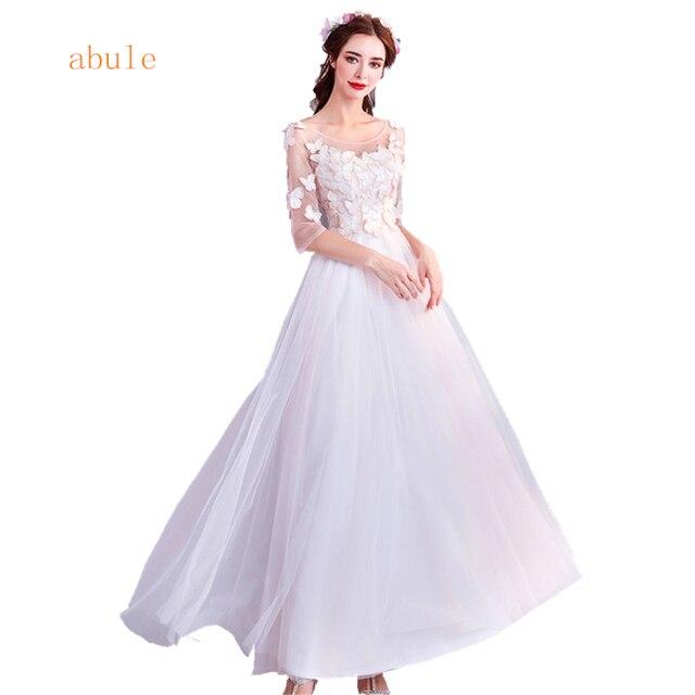 Abule Длинные вечернее платье длиной до щиколотки с круглым вырезом трапециевидной формы 3D бабочка кружева вечерние платья Для женщин платье для выпускного вечера плюс Размеры 2018