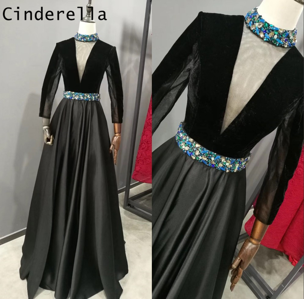 Cinderella Black High Neck Sheer Tulle Neck A-Line Pearl Crystal Beaded Satin   Prom     Dresses   Long Crystal Party Gown For   Prom