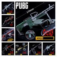 Game Playerunknown's Battlegrounds Cosplay Props PUBG 14Style MK60 Pistol Gun Metal Weapons Keychain Pendant Toy 6Pcs/Set New