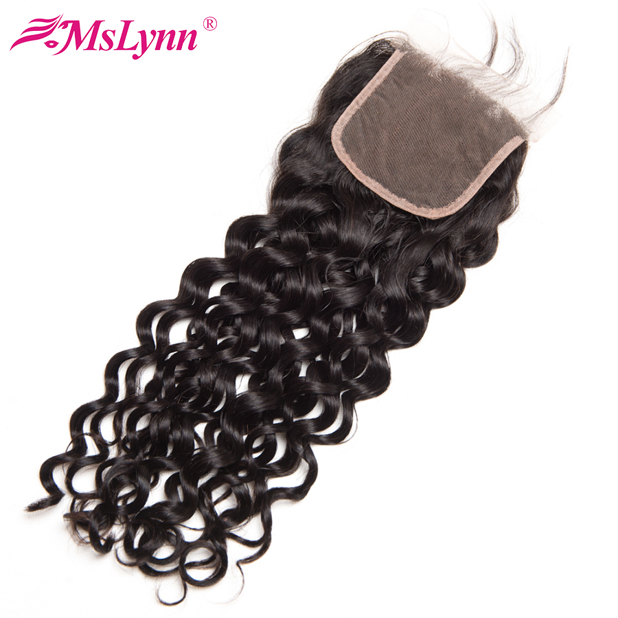 Mslynn Water Wave Closure Brazilian font b Hair b font 8 22 Free Part Non Remy