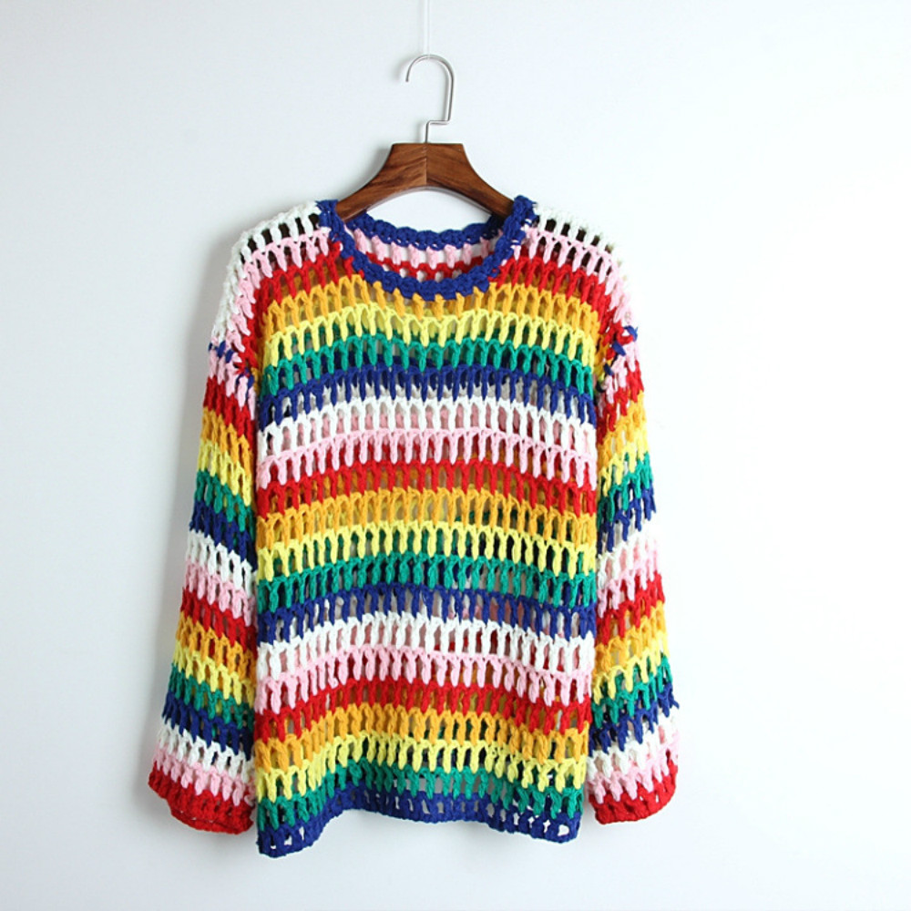 High Street Rainbow Striped Womens Sweater Sexy Hollow Out Crocheted 2018 Early Autumn Designer Runway Female Pullover Tops New