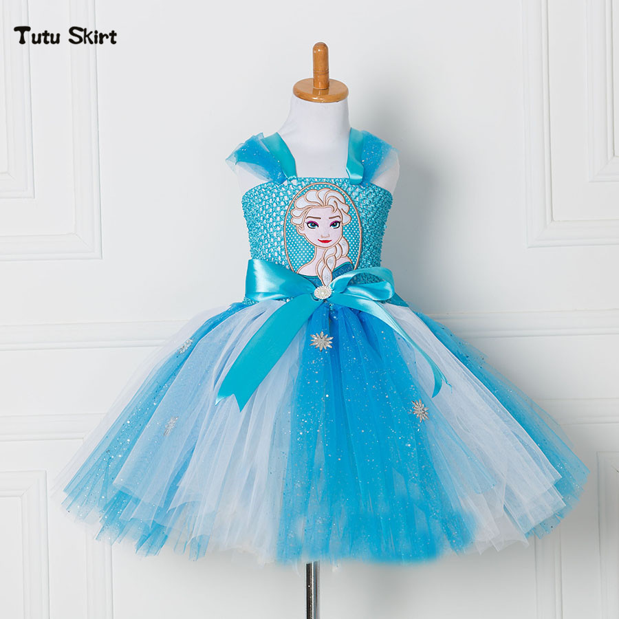 Tulle Tutu Dress Princess Anna Elsa Dress Snow Queen Halloween Party Vestidos Cosplay Costume Girl Dress Summer Girls Clothes valtery постельное белье mandy 1 5 спал