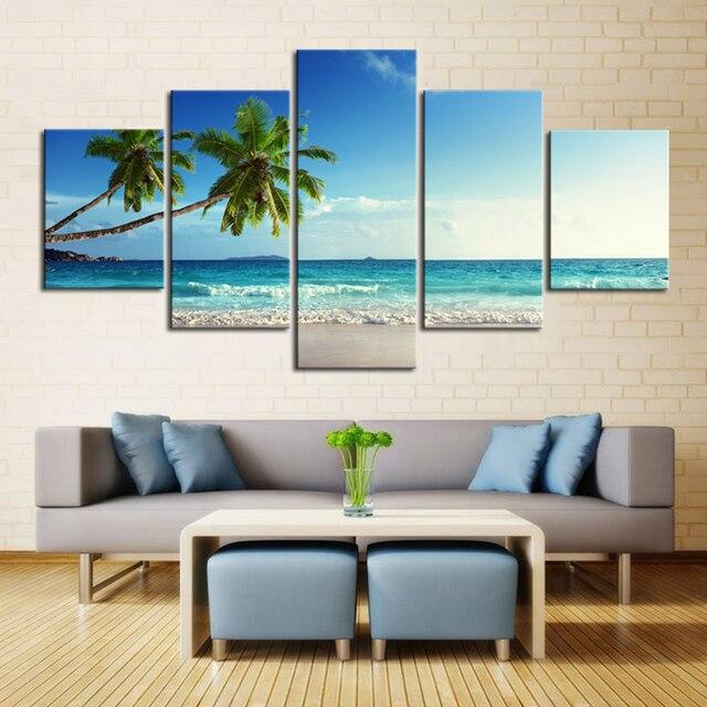 5 Piece Canvas Art Beach Print Painting Coconut Palm Tree Boat Landscape Wallpaper Pictures