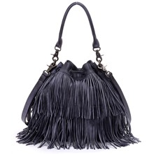 free shipping 2016 summer cowhide tassel bucket bag handbag bag women's one shoulder messenger bag genuine leather vintage bags