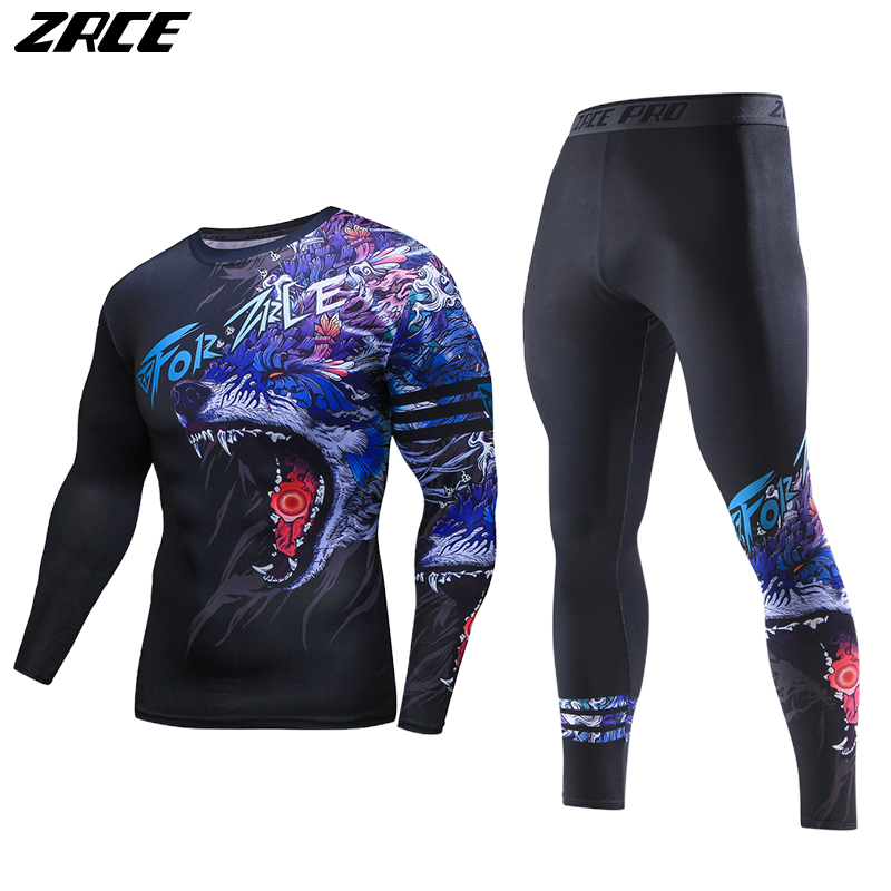 ZRCE 2017 Costume 3d Two Piece Set Wolf Cosplay Plus Size Skinny Men Compression Jerseys Funny T Shirt Fashion Full Men Suits