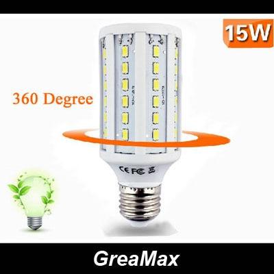 E27 E14 B22 15W 60 leds 5630 SMD LED Corn Light Lamp Bulb Warm Light  Pure White Light 220V 110V Energy Saving  Free Shipping