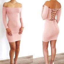 Fashion Women Slash-Neck Long Sleeve Mini Dress Casual Off Shoulder Bodycon Short Mini Dress Pure Evening Party Ladies Dress