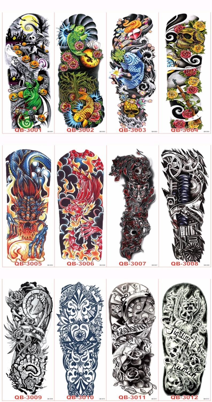 3st Vattentät Tillfällig Tatueringar Ärm Kroppskonst Män Kvinnor - Tatuering och kroppskonst - Foto 4