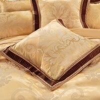 Pink Green Purple Silver Beige White Gold Luxury Satin Jacquard Square Pillowcase 60*60cm