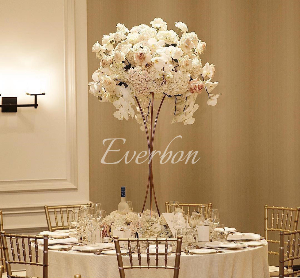 AliExpress & US $389.0 |Elegant wedding decoration flower vase table centerpiece vases tall flower stand gold iron vase artificial flower arrangement-in Party DIY ...