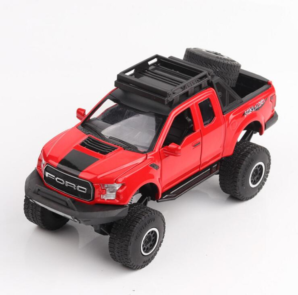 132 kids toys ford raptor big foot f150 pickup truck metal toy cars model for children music car gifts flashing boys in diecasts toy vehicles from toys