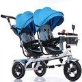 Estrutura de Aço de alta Qualidade Gêmeos Carrinho De Criança, 12 Polegada Rodas de Ar Assento Duplo Carrinho De Bebê, 4 cores disponíveis para