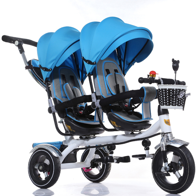 High Quality Steel Frame Twins Stroller, 12 Inch Air Wheel Double Seat Pram, 4 color for available