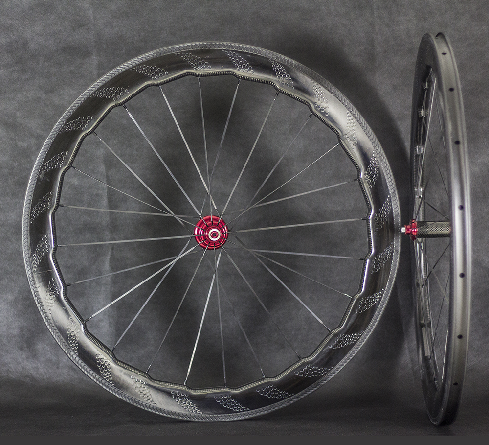 Carbon Wheels Aerodynamic Waver Dimple 58mm Clincher Tubular Wheel 700C with Special Brake Surface