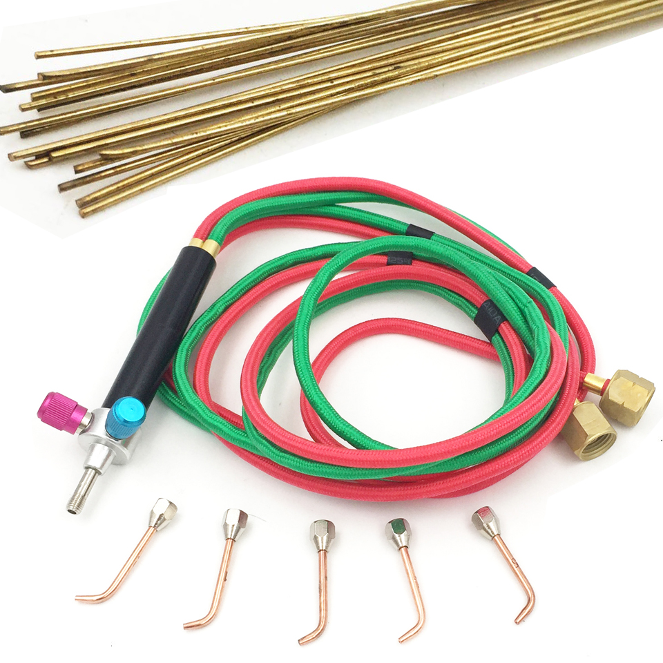 The Little Welding Gas Torch With 5 Tips And Flexible Twin Hose For Oxygen Acetylene Torch & 5pcs 25cm Welding Rods