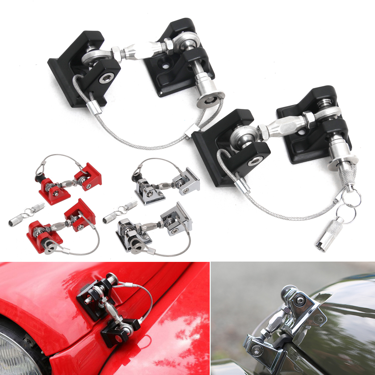 1Pair Car Engine Hood Lock Latches Catch Locking Anti-Theft Key Kit for Jeep for Wrangler JK 2007-2017 3 Color