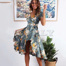 Cuerly Elegant party floral print long ruffle dress women Summer bow wrap knee length dress vestidos Casual daily slim dress  L5