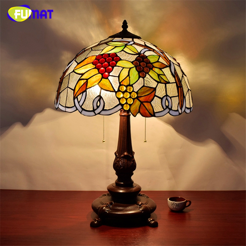 FUMAT American Vintage Creative Stained Glass Table Lamp For Living ...