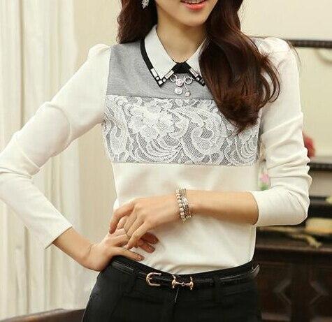 Vintage Lace Blusa Large Size Women Blouses Camisa Feminina 2015 Ropa Mujer Blusas De Renda feminino Beading Women Tops Vestidos