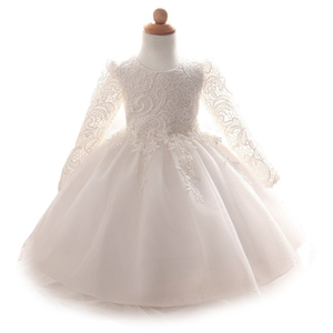 Image 2 - 2020 baby girl dress long sleeves lace dresses birthday party new born baby girl clothing white pink dresses vestido de bebe