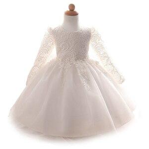Image 2 - 2020 bebek kız elbise uzun kollu dantel elbiseler doğum günü partisi yeni doğan bebek kız giyim beyaz pembe elbiseler vestido de bebe