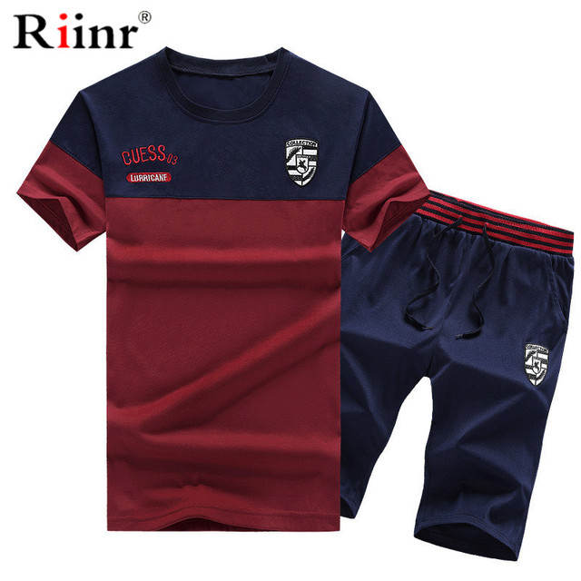 df3a72445219 Riinr Sportsuits Set Men 2019 Brand Fitness Suits Summer 2PC Top Short Set  Mens O-NECK Fashion 2 Pieces T-shirt Shorts Tracksuit