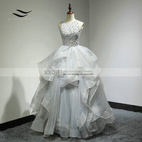 Custom Made Sexy Organza Top Royal Backless Ball Gown Wedding Dress Long Wedding Gown Bridal Gown Vestido De Noiva SL W269