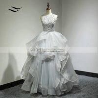Custom Made Sexy Top Organza Sem Costas Real Bola Vestido de Noiva Vestido Longo Vestido de Casamento vestido de Noiva Vestido De Noiva SL-W269