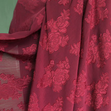 1y*150cm,Burgundy wedding dress material 3d jacquard rose chiffon crepe fabric(China)