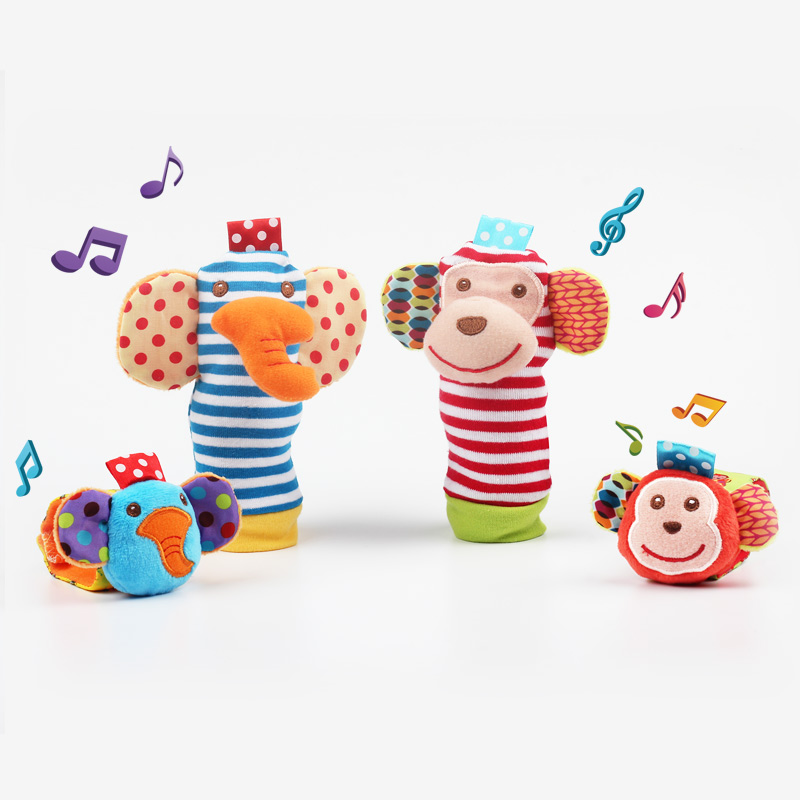 Infant Baby Toy Plush Socks Wrist Strap With Rattles Soft ...