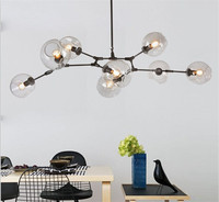 Modern Molecular Tree Chandelier Nordic Loft Industrial Pendant Lights Black Gold Retro Lindsey Adelman Glass For