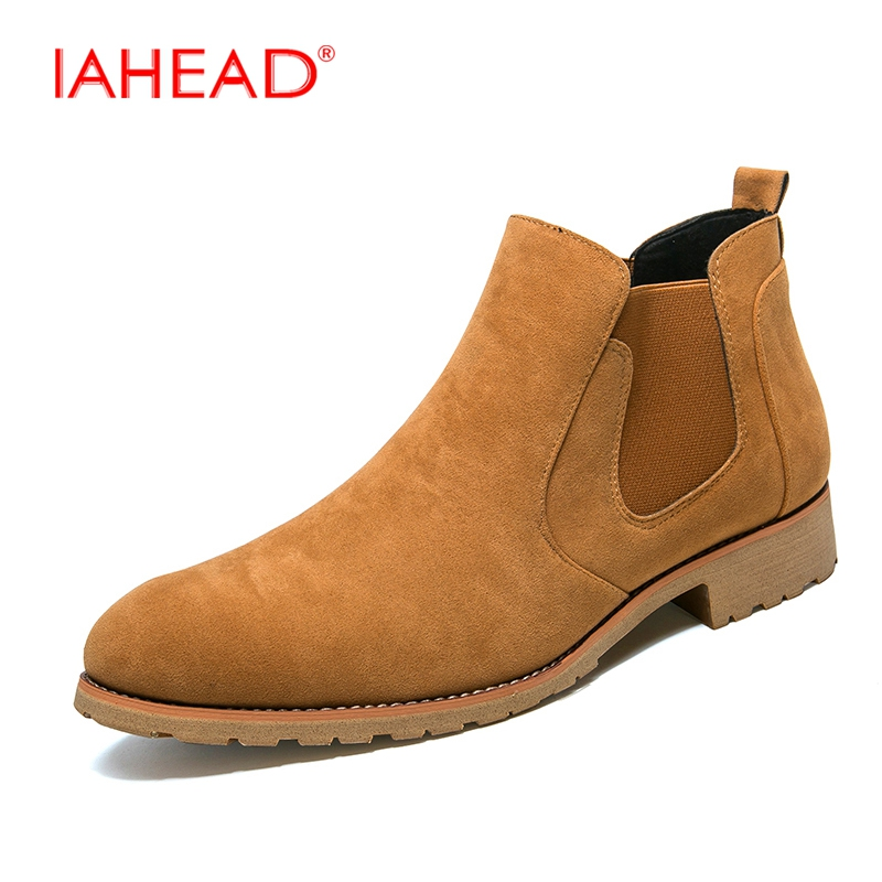IAHEAD Chelsea Boots Men Winter High Quality Men Boots Work Shoes  Men Leather Casual Boots Cowboy Boots Mens askeri bot MU501 iahead men boots ankle lace up military boots high quality genuine leather shoes men fashion winter shoes cowboy boots mh547