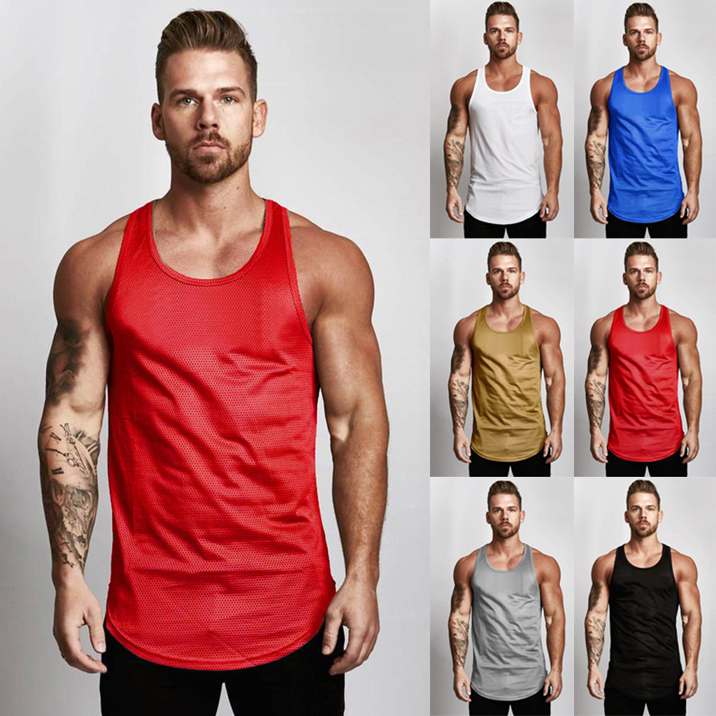 NEW Men's Solid Sleeveless   Tank     Top   Mesh Breathable Bodybuilding Sport Fitness Ves   Top   Tee Shirt O-NECK Bodybuilding $3