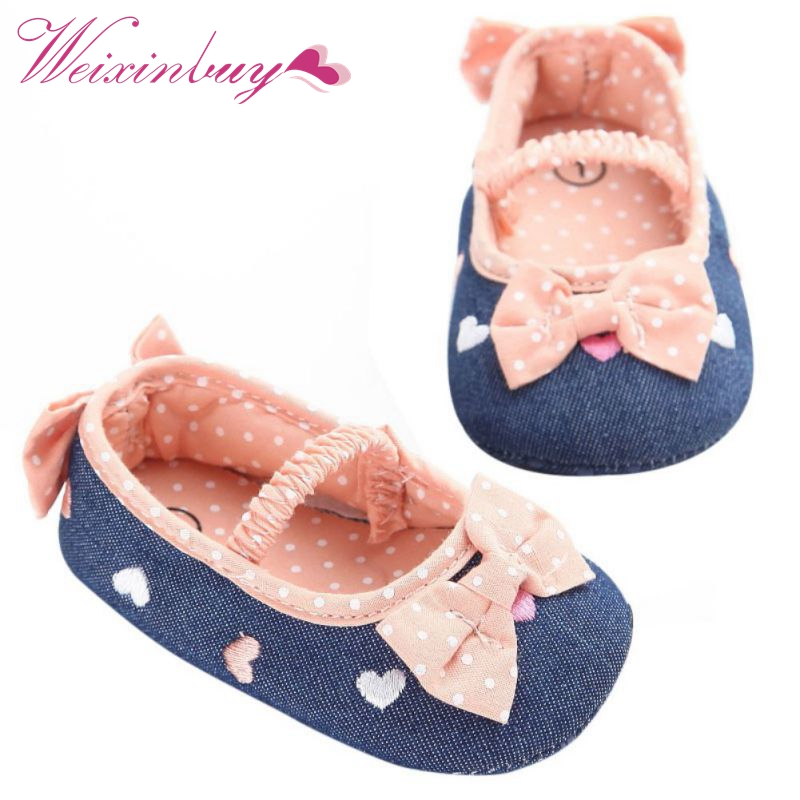0-18M Soft Soled Girls baby Shoes First Walkers Bow Prewalker Crib Shoes Cute Baby Girl Shoes