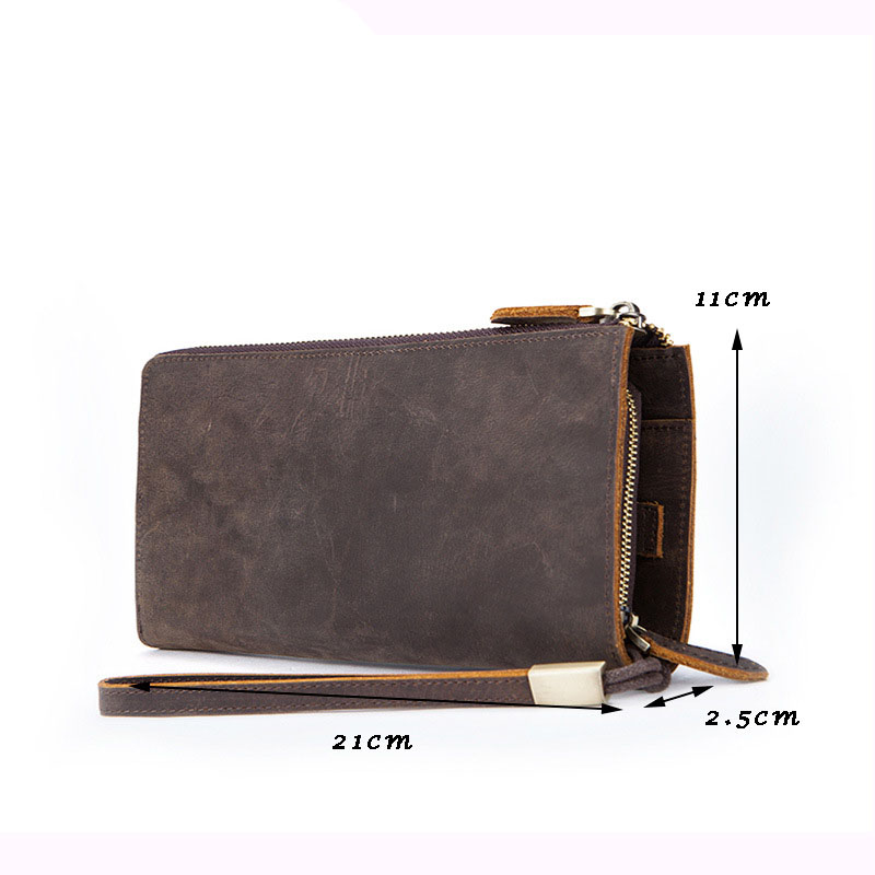 LAPOE Lowest cheap price genuine leather day clutches women oil wax leather clutch bag designer three wristlets wallet purse women fashion designer double zipper oil wax genuine leather wallet rfid blocking long purse day clutches for men high quality