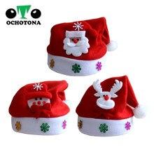 De Navidad de los niños sombrero de Santa Claus Elk de copos de nieve sombreros  Navidad natal sombrero para niños adultos natale. 680fbfea4a9