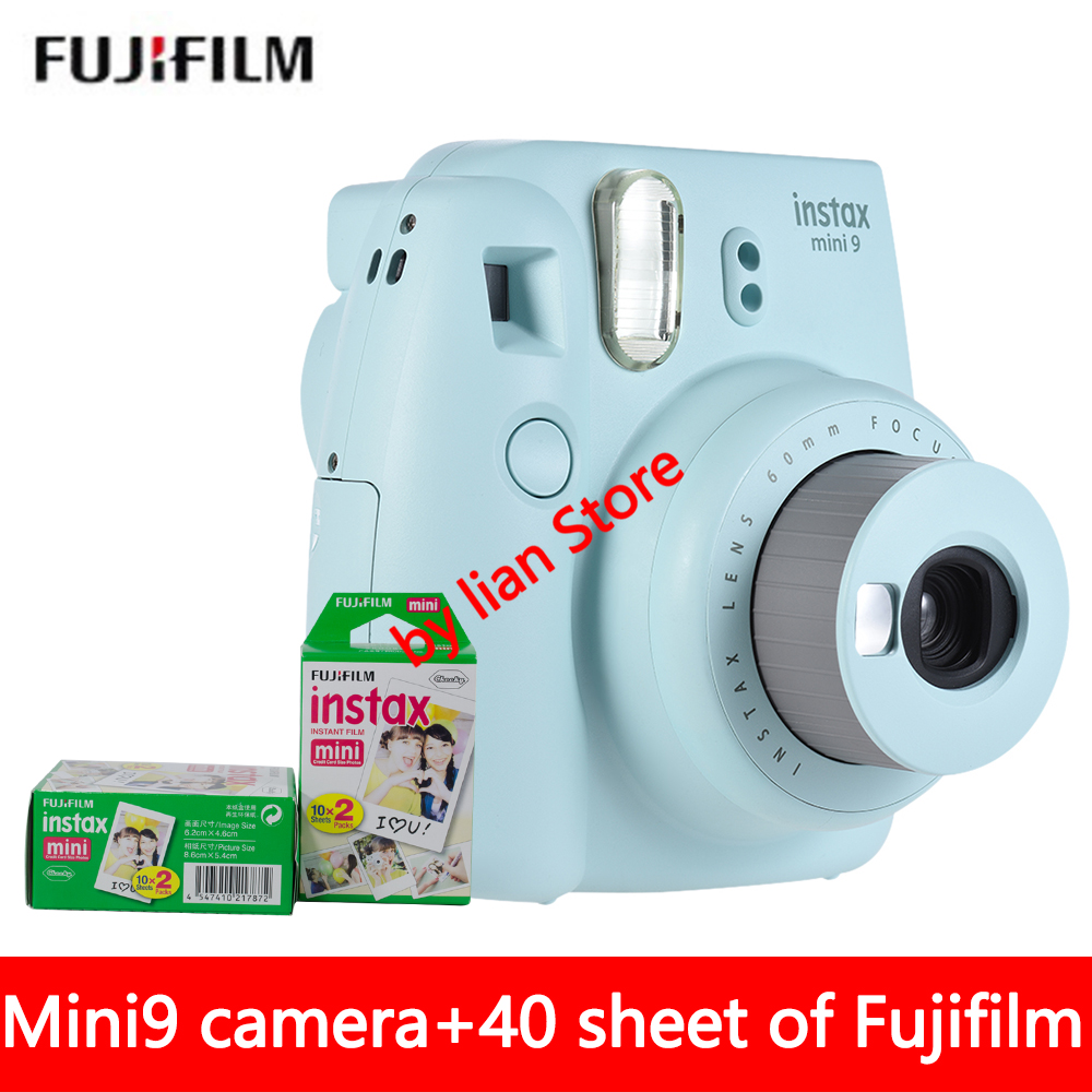 New 5 Colors Fujifilm Instax Mini 9 Instant Photo Camera + 40 sheet Fuji Instax Mini 8 White Film + Close up Lens fujifilm instax mini 9 camera 5 colors 10 shots fuji mini 9 instant film monochrome photo paper free shipping