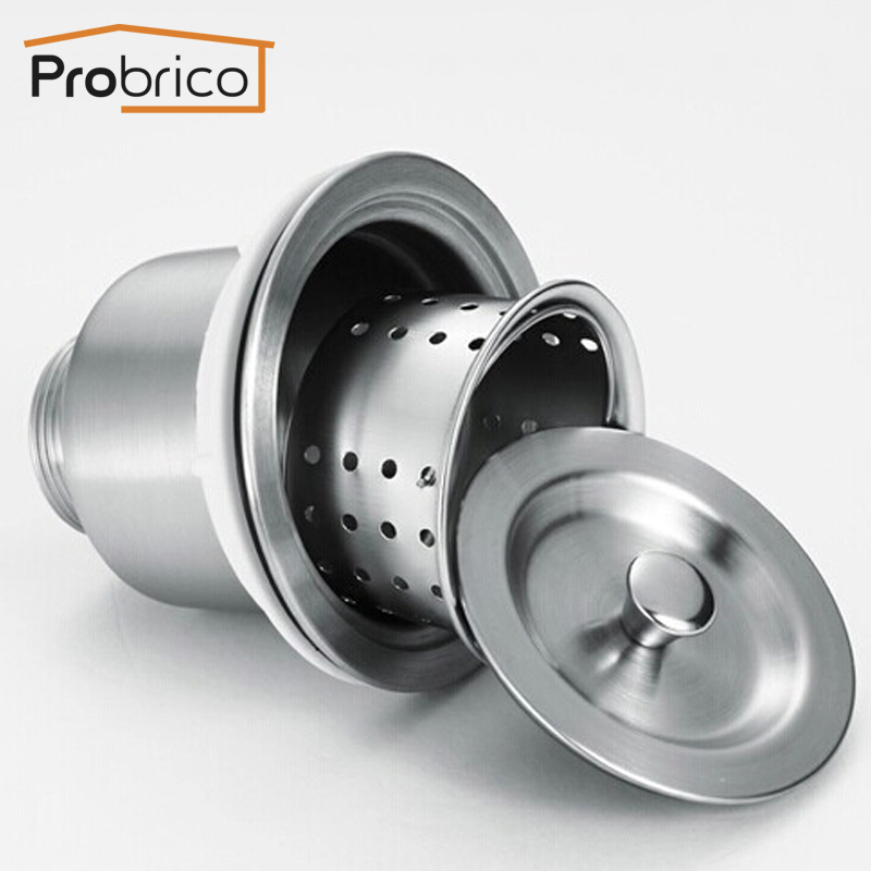 aliexpresscom buy probrico fit 35 kitchen sink drainer stainless steel deep waste basket drain strainer with sealing lid usa domestic delivery from - Kitchen Sink Wastes