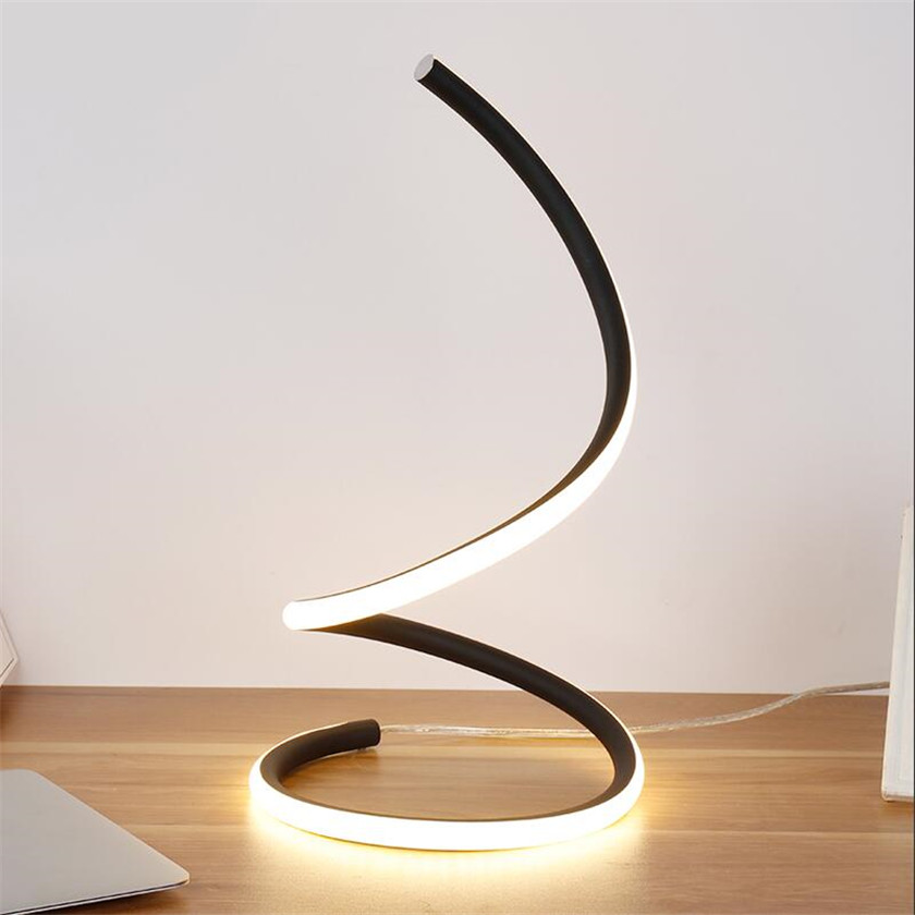 Antikue LED Table Lights EU/US Plug Aluminum Art Deco Desk Lamp For Bedroom Study Reading Luminaria Table Home Lighting Deco