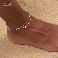 wholesale New fashion jewelry silver color heart beads star mix design anklet for women girl wholesale AN53