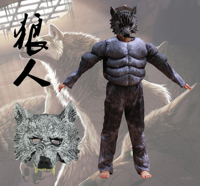 Kids Halloween Cosplay Costumes Wolf Suits Children School Performance Clothing Props Muscle Werewolf Cosplay Clothes Kids & Kids Halloween Cosplay Costumes Wolf Suits Children School ...
