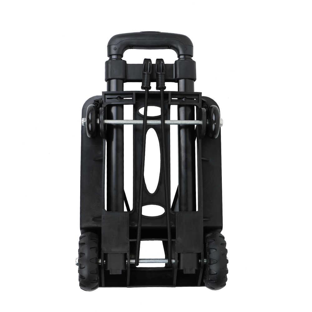KKMOON portátil plegable equipaje de compras de viaje carrito de remolque de cama plana Carretilla con varilla de tracción negra