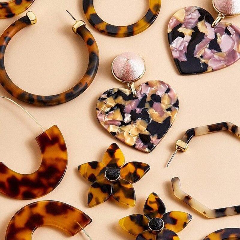 ZA 2019 Лидер продаж акриловые леопардовые Висячие серьги из смолы для женщин модные Черепаховые геометрические ацетатные вечерние ювелирные изделия Brincos