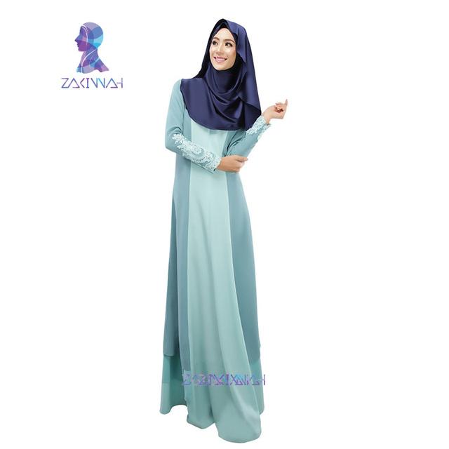 Hot fashion two colors spliced maxi dress women muslim long abaya maxi dress plain color maxi dress