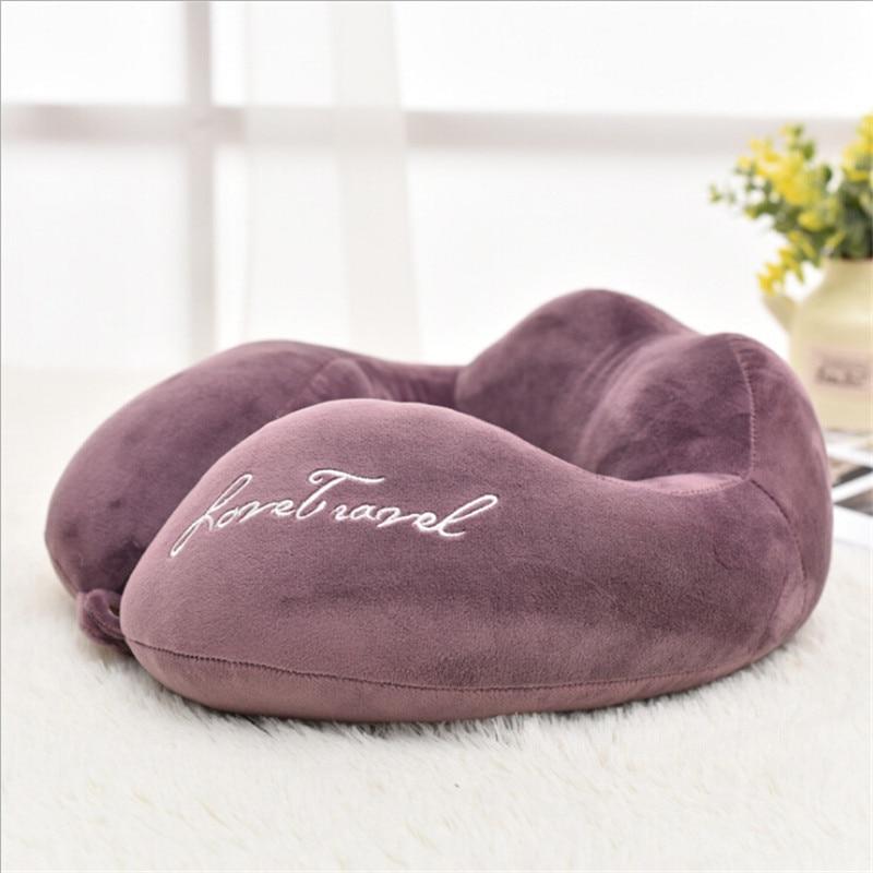 Новые u-образные подушки для защиты шеи из пены памяти мягкие медленный отскок космическая Подушка твердый шейный затылочный медицинский Подушка для беременных - Цвет: Фиолетовый