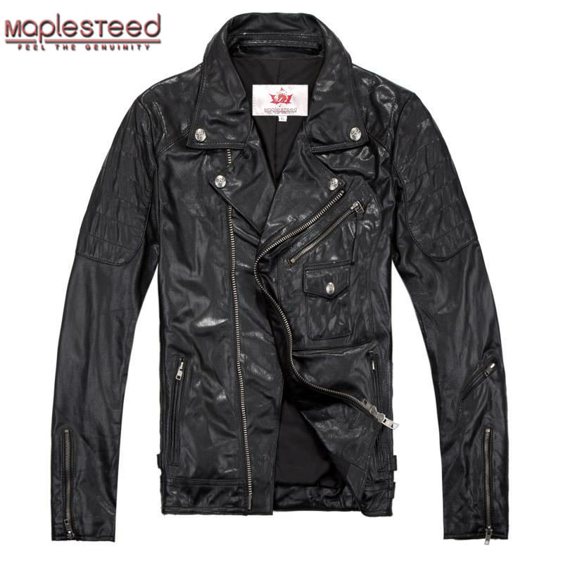 Factory Genuine Leather Jacket Men Real Sheep Goat Skin Fashion Brand Fit Bomber Motorcycle Men's Coat Male Jaqueta Autumn ZH053