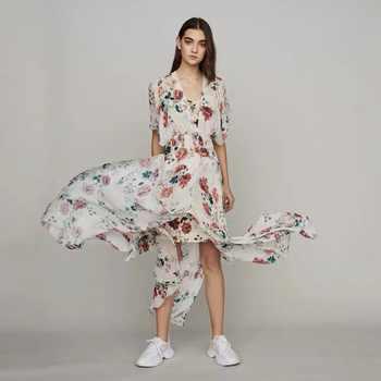 Women\'s dress 2019 summer dress RACHELLE Scarf dress in printed chiffon dress - DISCOUNT ITEM  18% OFF Women\'s Clothing