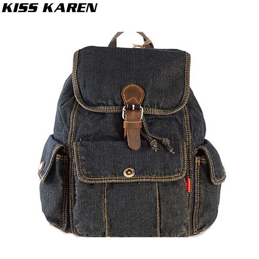 ФОТО KISS KAREN Classic Cowboy Fashion Denim Women Backpack Casual Stylish Backpacks Jeans Women Bag Travel School Drawstring Bags