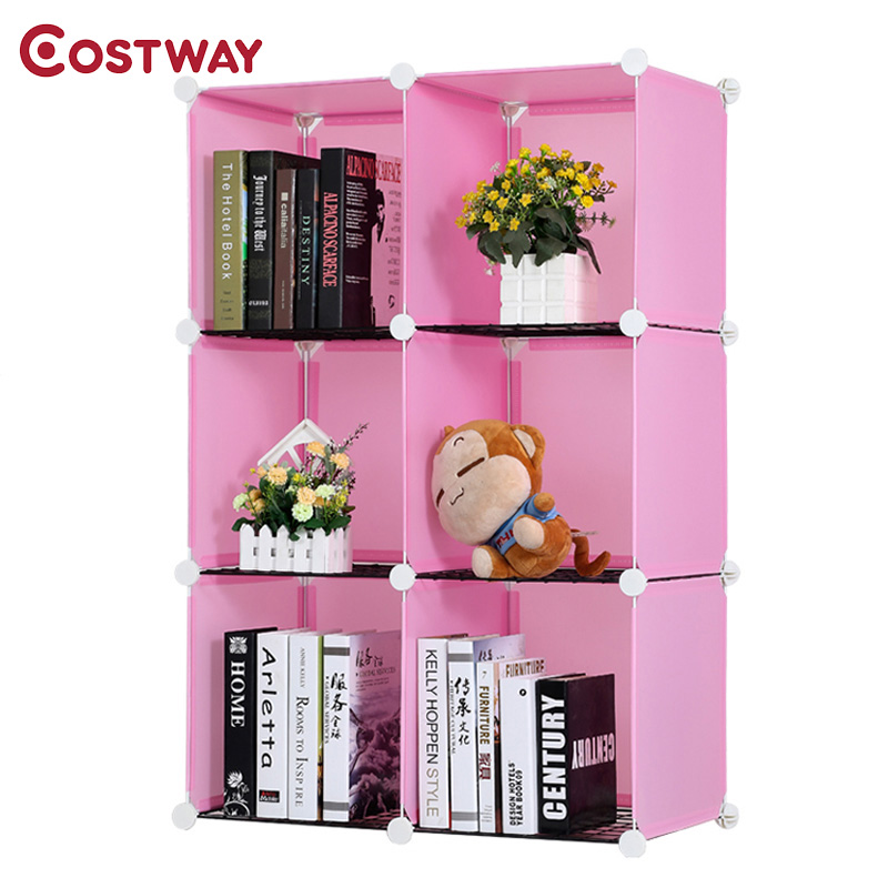 COSTWAY Simple Resin Plastic Bookshelves DIY 6-Grid Portable Bedroom Storage Shelves Organizer Bookcase Boekenkast Librero W0235 360 degree rotation simple bookshelves multi storey floor bookcase shelves children s dormitory shelter
